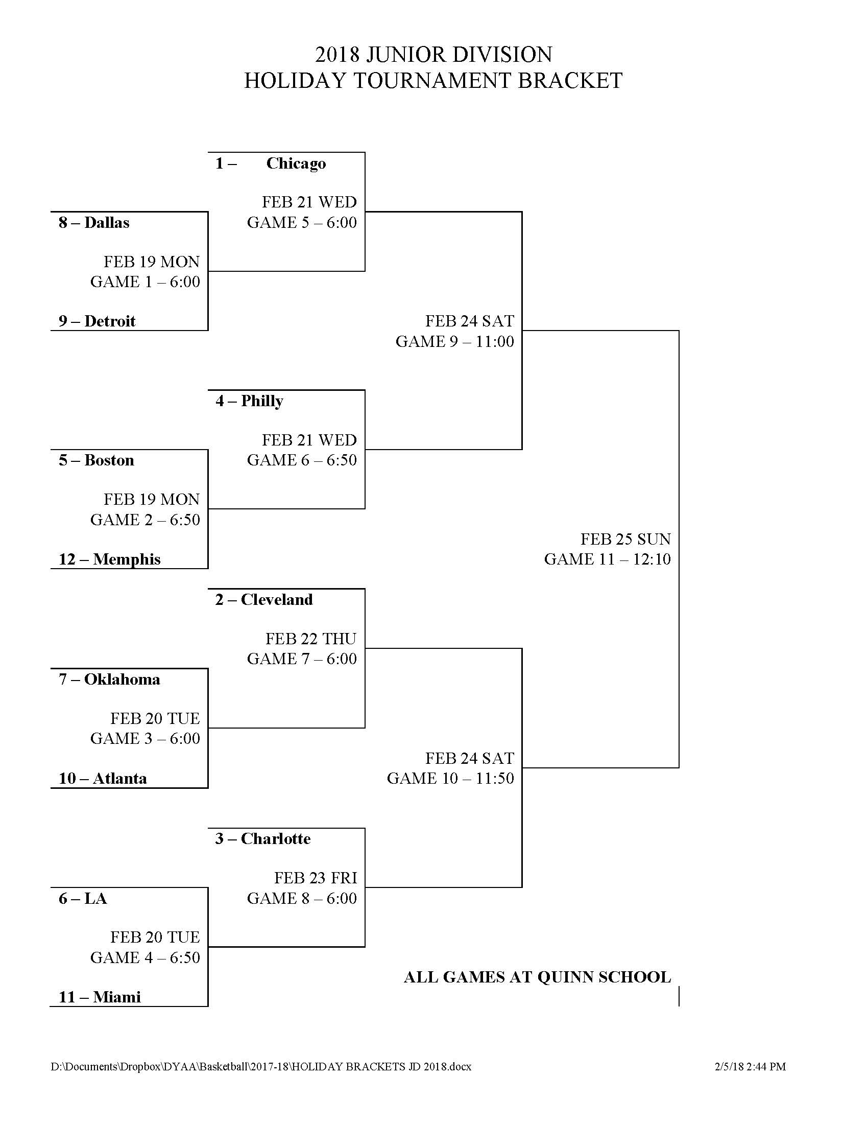 Holiday tournament dyaa junior division brackets pooptronica Image collections